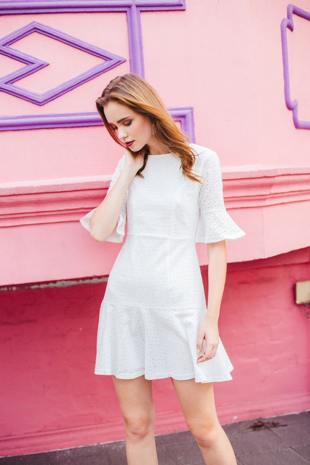Mirella Eyelet Dropwaist Dress in White