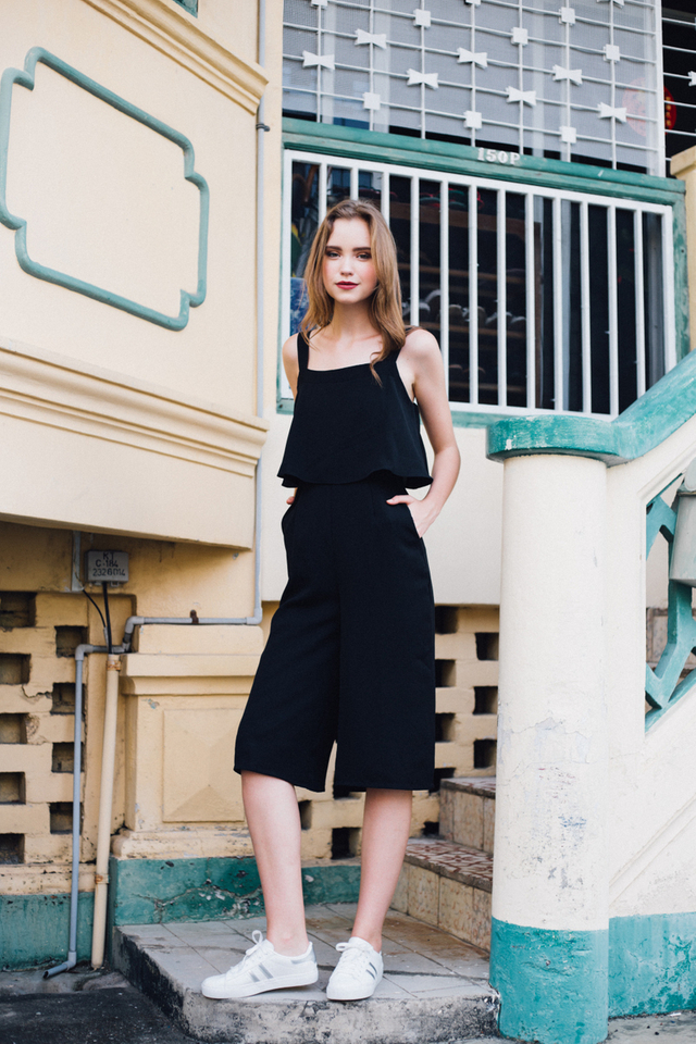 Zayn Square Neckline Culottes Jumpsuit in Black