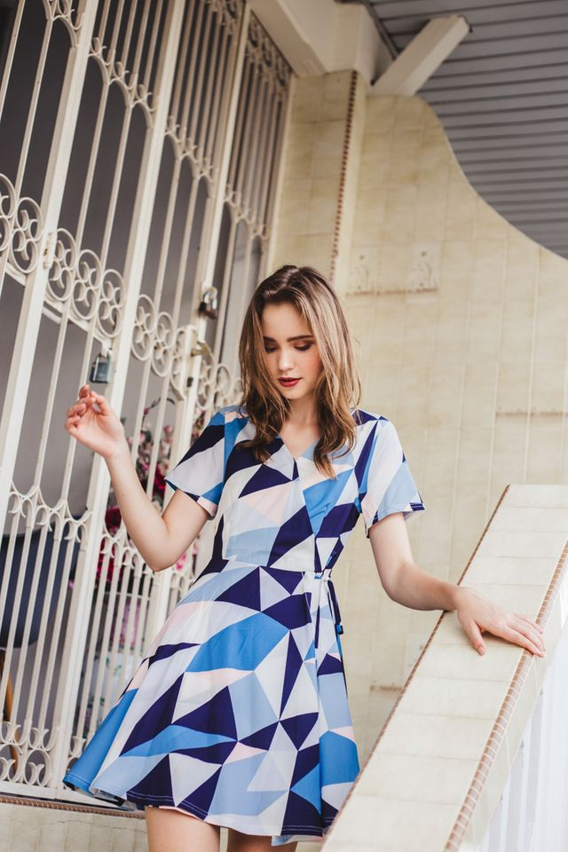 Brinley Geometric Faux Wrap Skater Dress in Blue (XS)
