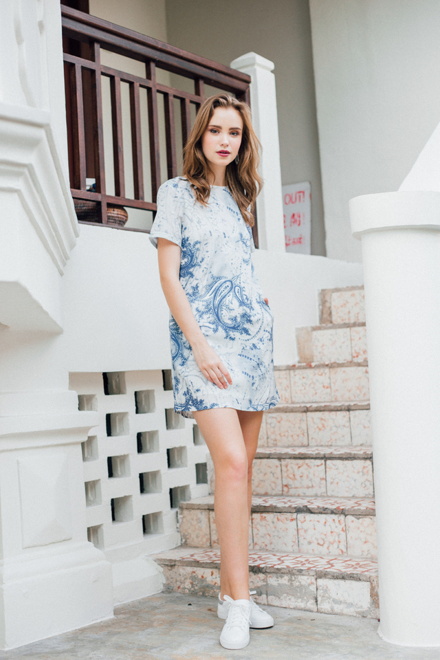 Sage Printed Shift Dress in Blue Paisley