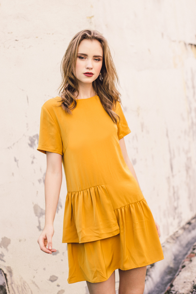 Camreigh Layered Ruffles Shift Dress in Mustard