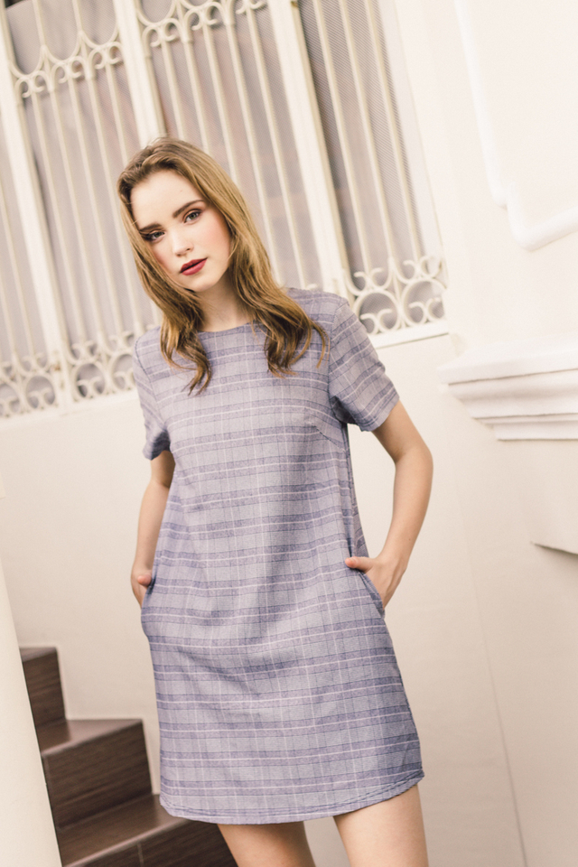 Greer Plaid Shift Dress in Navy