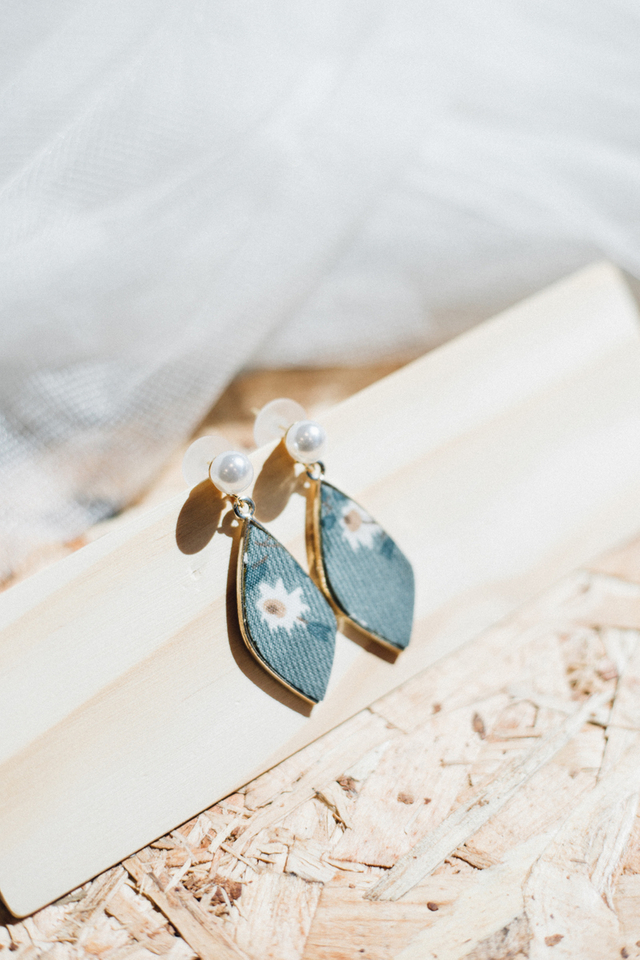 Isadora Floral Earrings in Teal