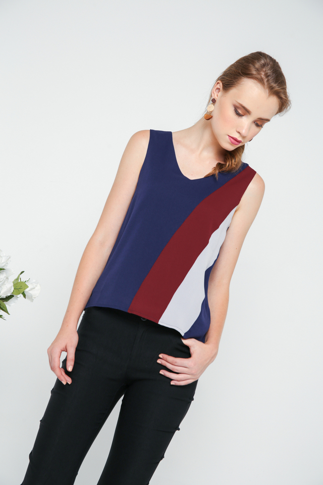 Dana Colourblock Flare Top in Navy