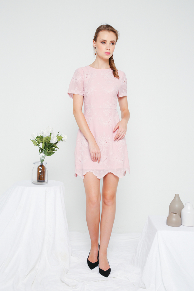 Eira Eyelet Sheath Dress in Pink