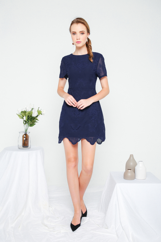 Eira Eyelet Sheath Dress in Navy