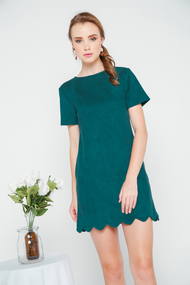 Lily Suede Shift Dress in Emerald