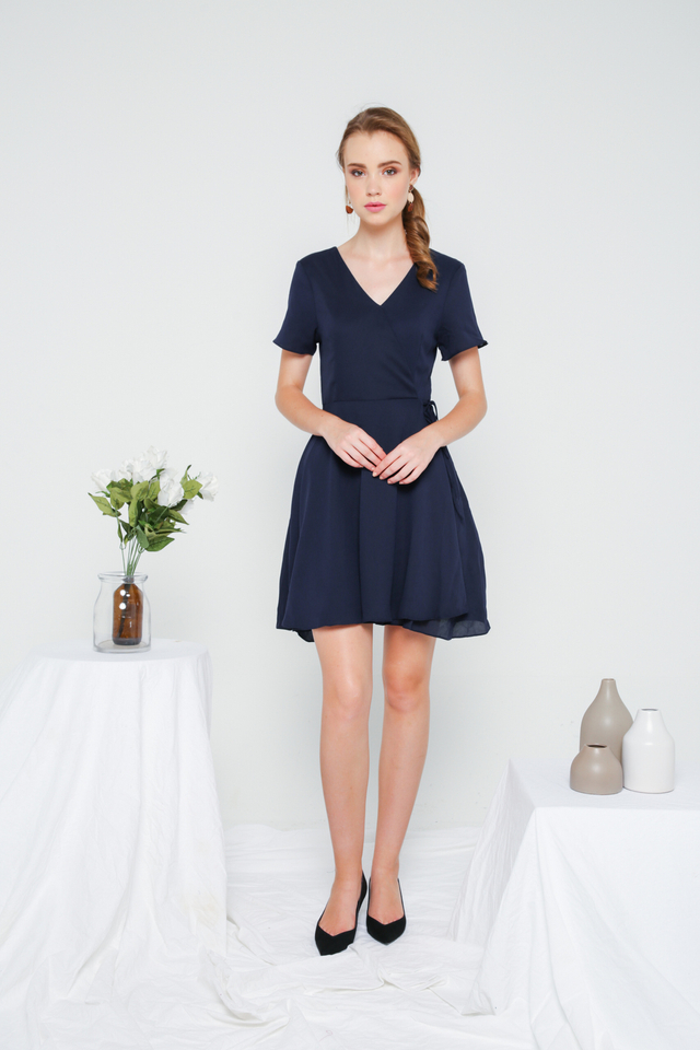 Cheryl Basic Faux Wrap Dress in Navy