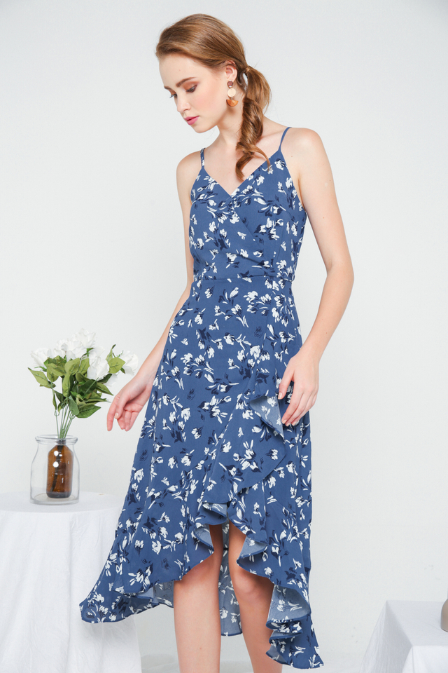 Chloris Floral Asymmetrical Ruffles Dress in Sapphire Blue