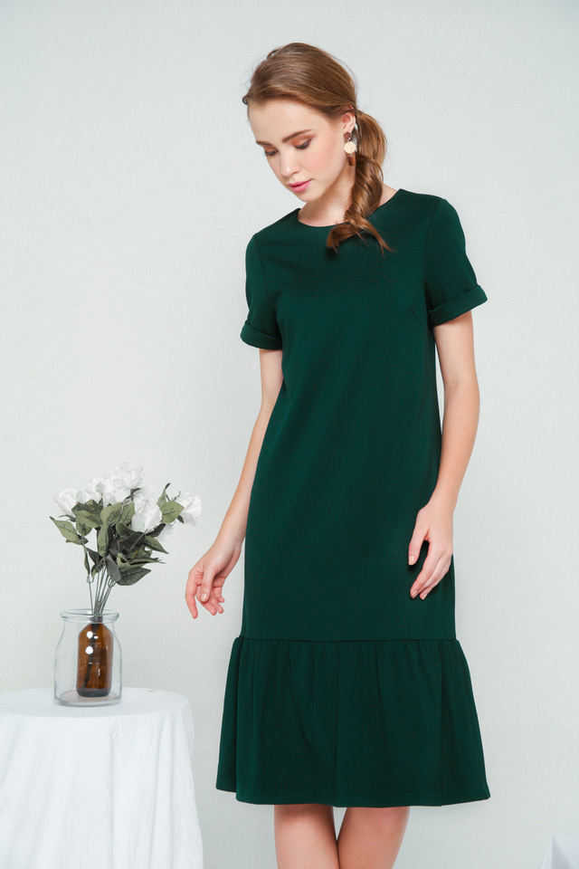 Orlando Basic Dropwaist Dress in Forest (XS)