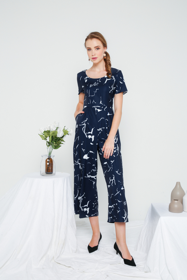 Cassi Patterned Jumpsuit in Navy