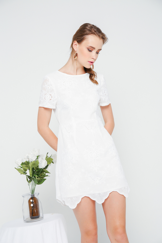 Eira Eyelet Sheath Dress in White (XS)