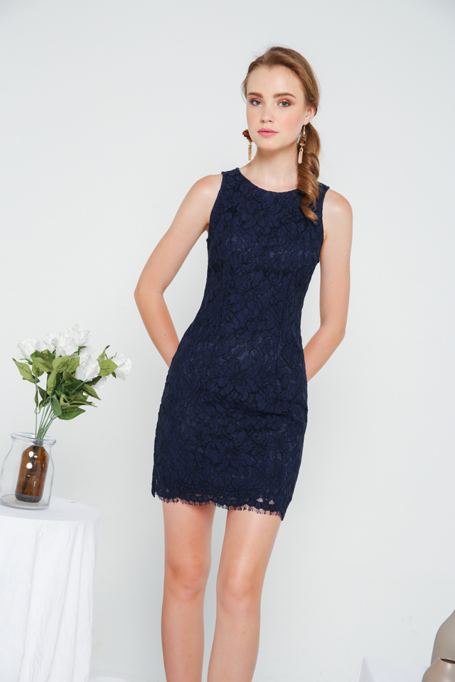 Emmarie Floral Lace Dress in Navy