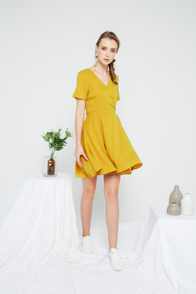 Cheryl Basic Faux Wrap Dress in Mustard (M)