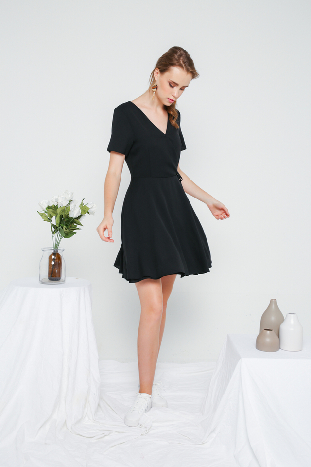 Cheryl Basic Faux Wrap Dress in Black