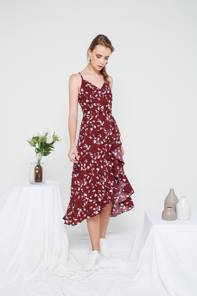 Chloris Floral Asymmetrical Ruffles Dress in Wine Red