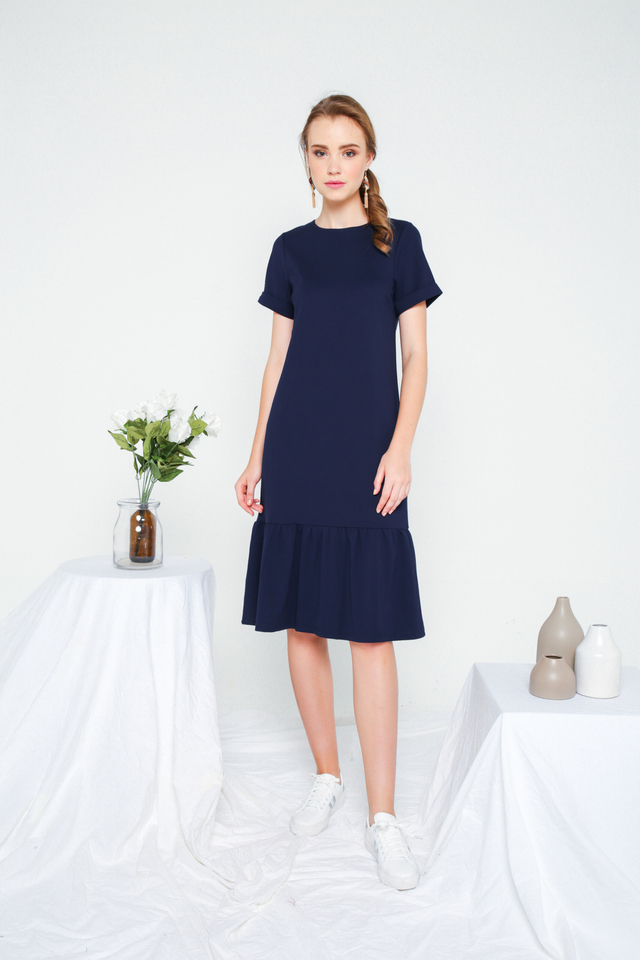 Orlando Basic Dropwaist Dress in Navy