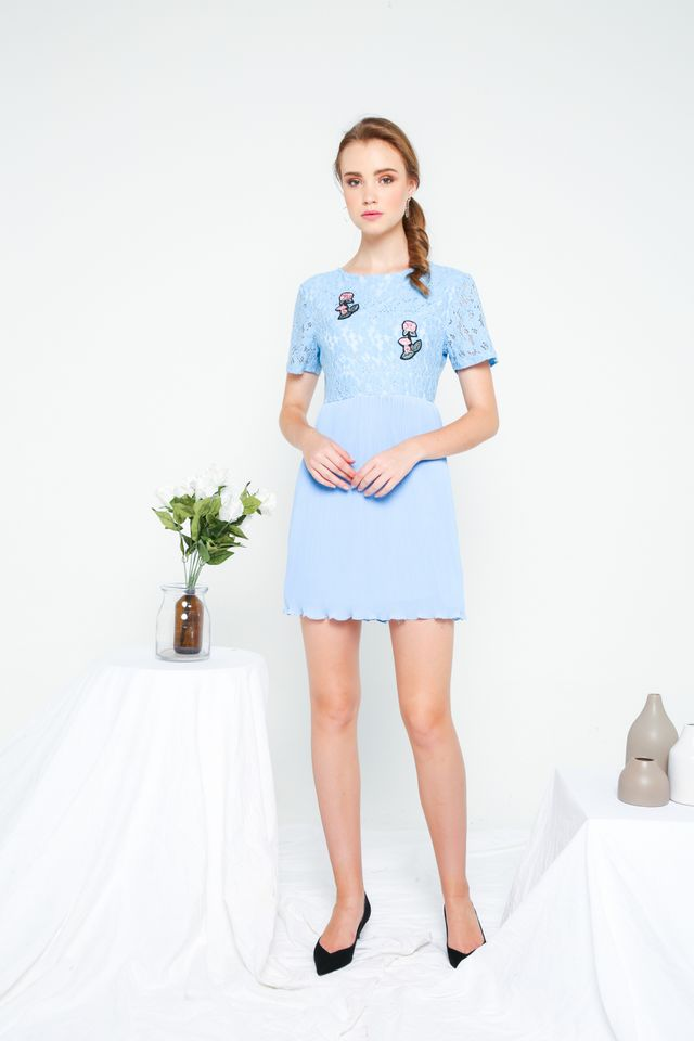Evian Crochet Pleats Dress in Sky Blue