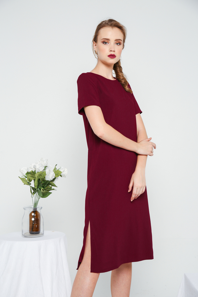 Morgana Midi Shift Dress in Burgundy