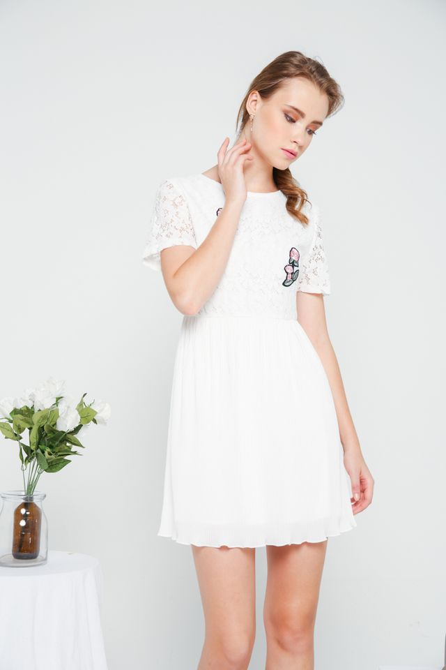 Evian Crochet Pleats Dress in White