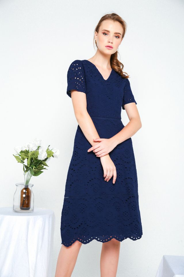 Dorothy Eyelet Midi Dress in Navy (XS)