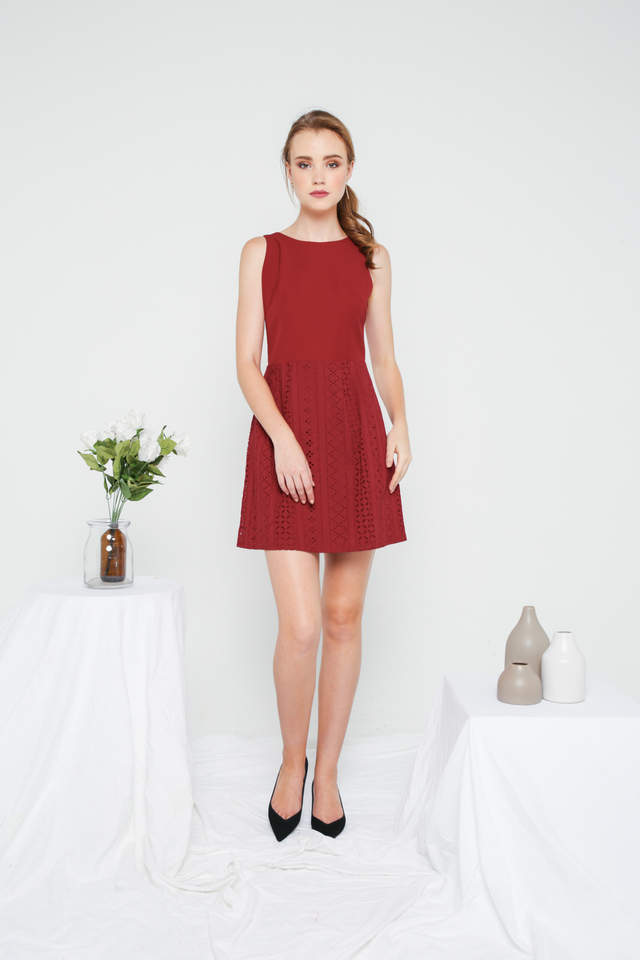 Jenny Eyelet Mini Dress in Maroon