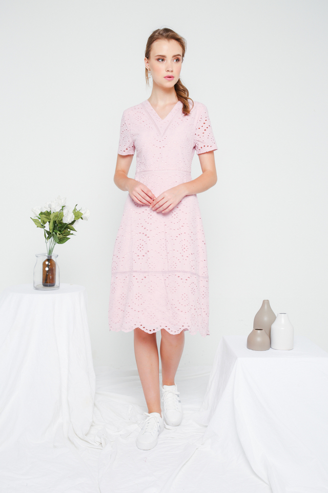 Dorothy Eyelet Midi Dress in Dusty Pink