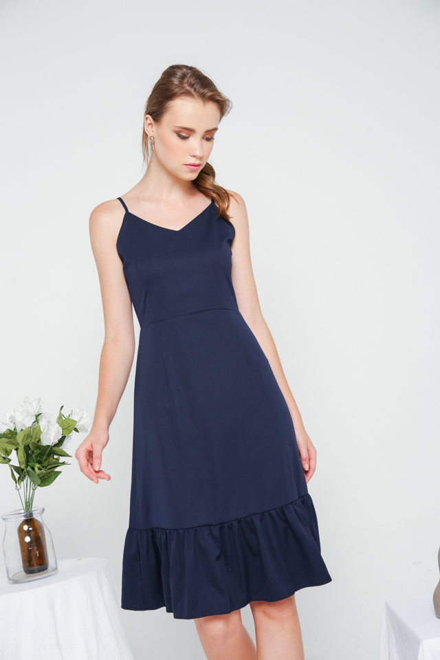 Berlin Ruffled Hem Dress in Navy (L)
