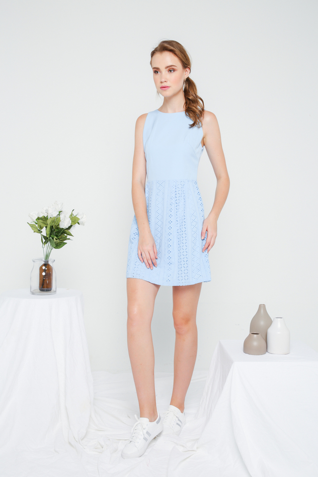 Jenny Eyelet Mini Dress in Sky Blue (L)