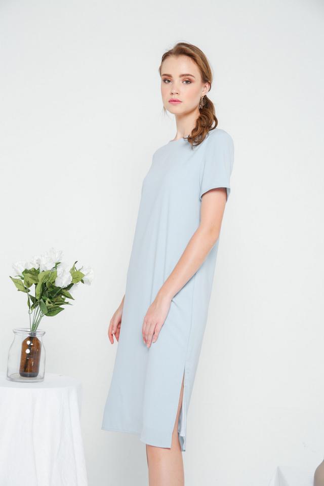 Morgana Midi Shift Dress in Sky Blue