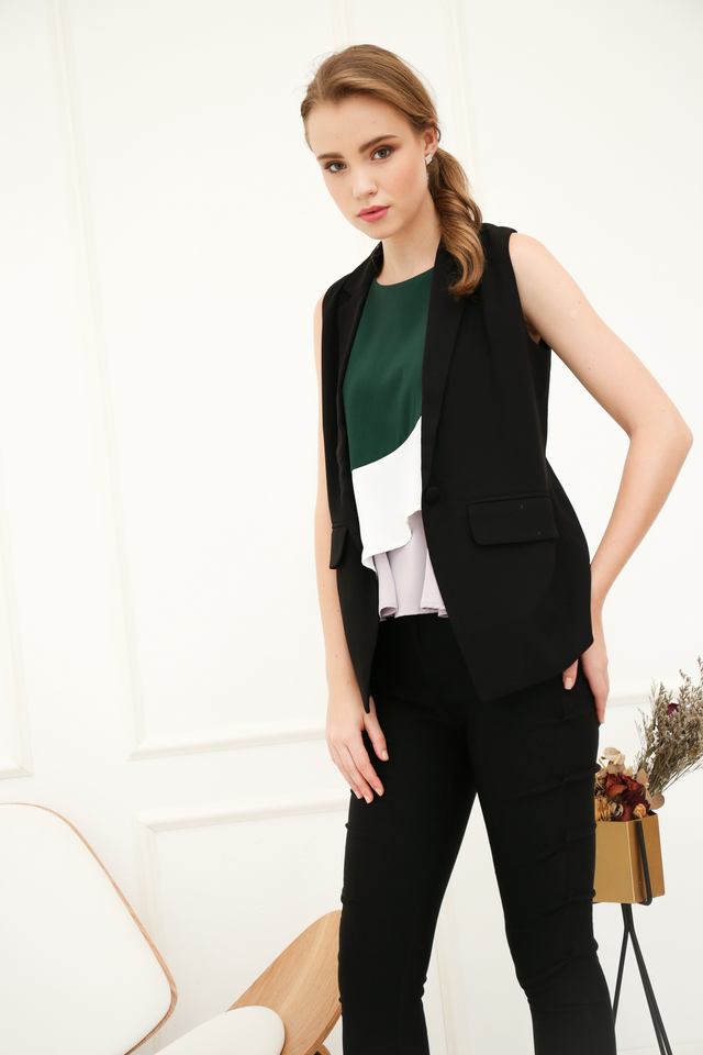 Inerys Colourblock Flare Top in Emerald