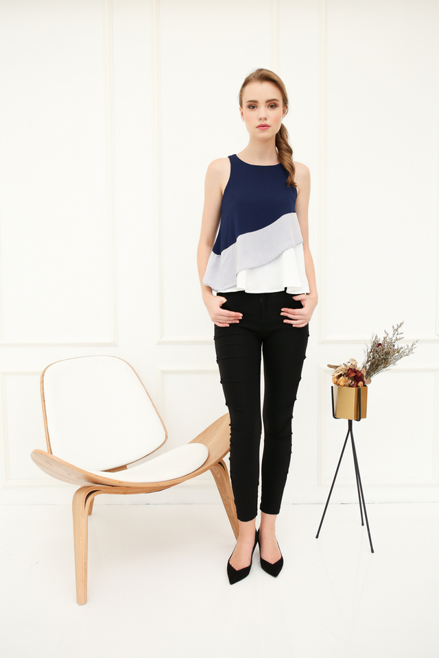 Inerys Colourblock Flare Top in Navy