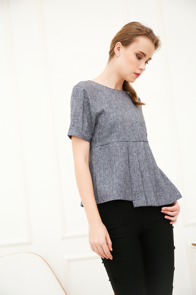 Edelia Pleated Top in Navy