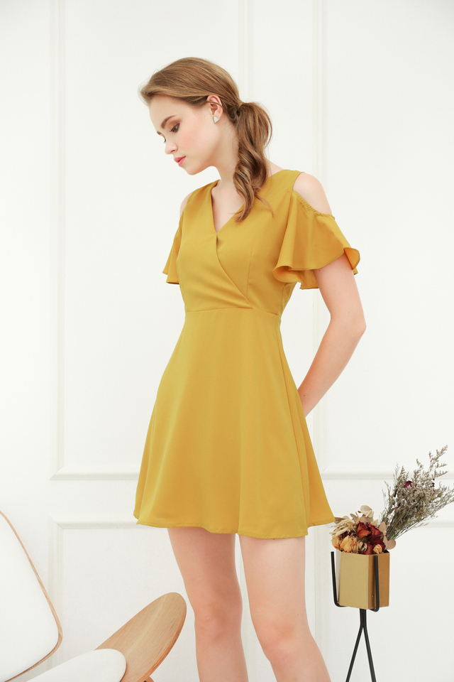 Janel Cold Shoulder Skater Dress in Dusty Mustard