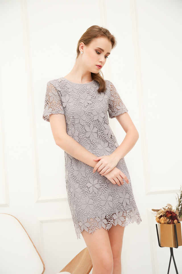 Florin Crochet Shift Dress in Grey