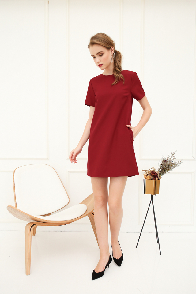 Zen Basic Shift Dress in Maroon (XS)