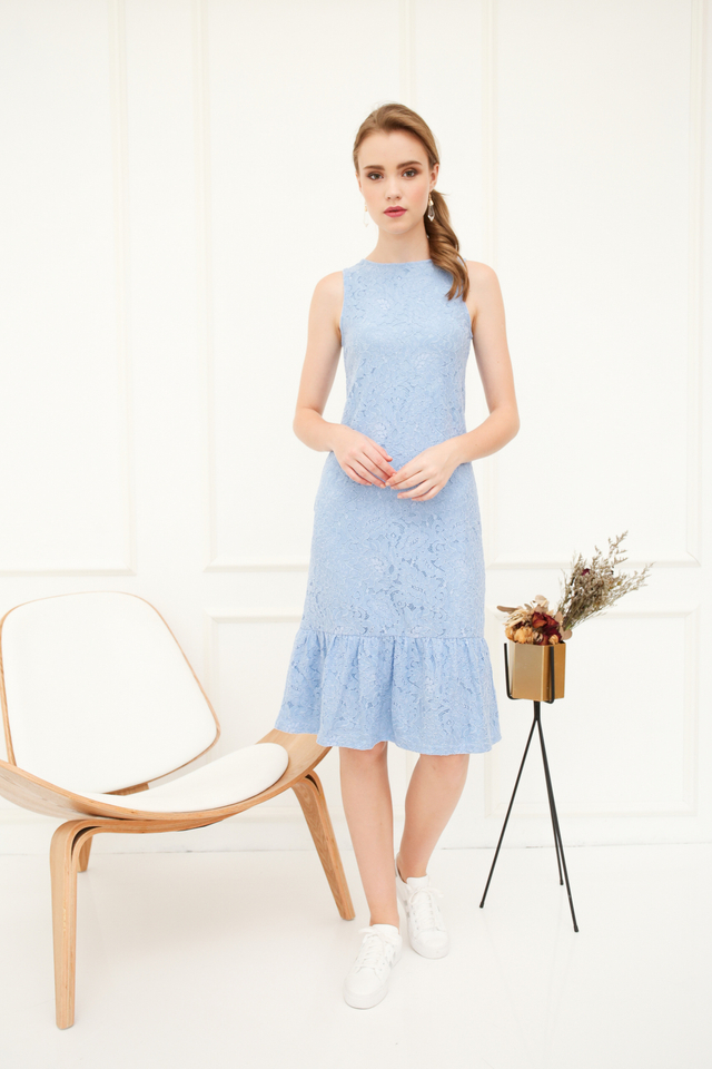 Versa Lace Dropwaist Midi Dress in Sky Blue