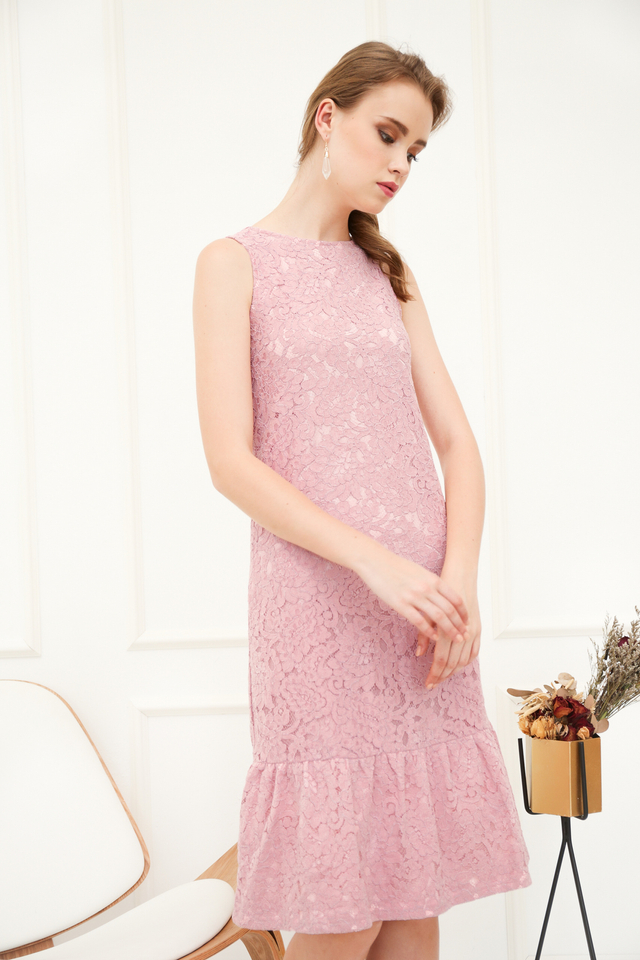 Versa Lace Dropwaist Midi Dress in Pink