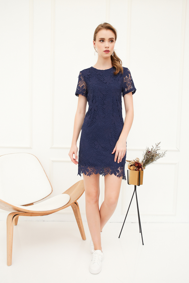 Florin Crochet Shift Dress in Navy