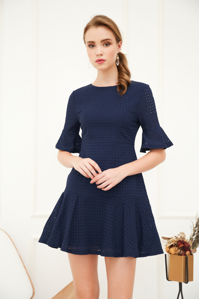 Mirella Eyelet Dropwaist Dress in Navy (M)