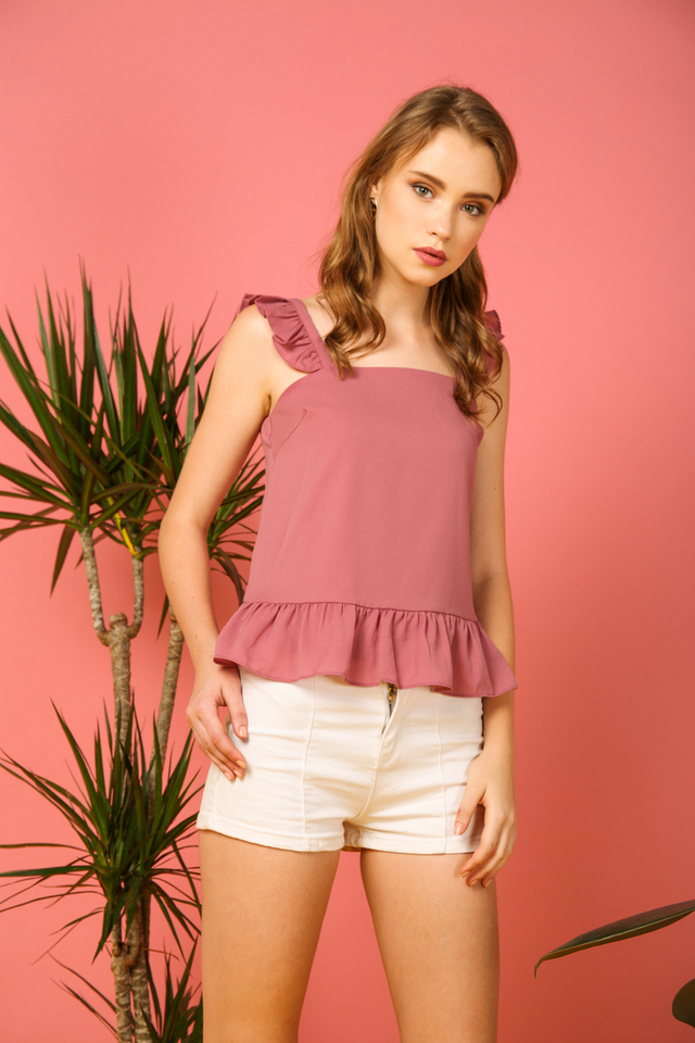 Amora Ruffled Top in Pink