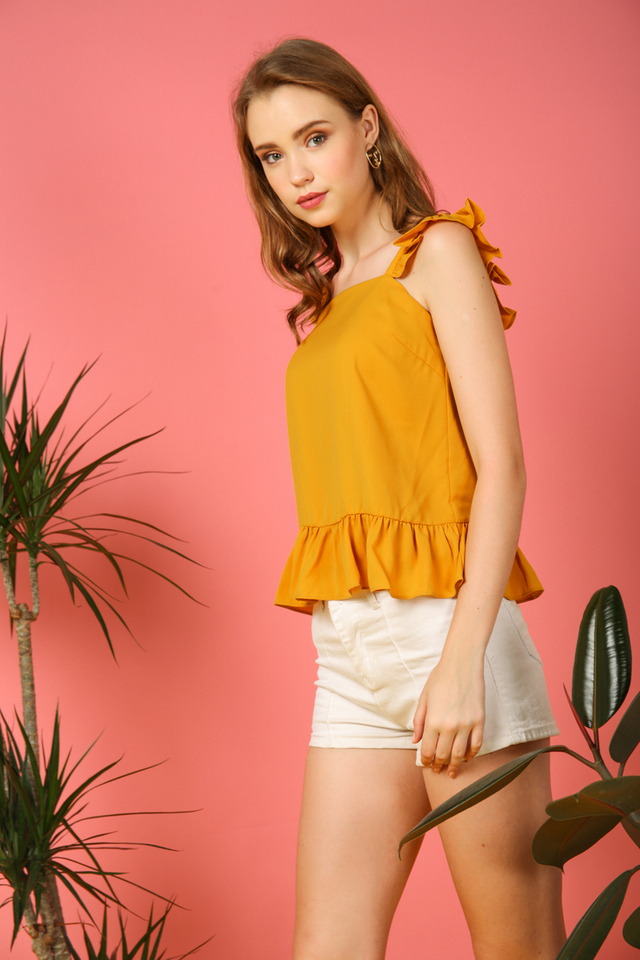 Amora Ruffled Top in Mustard