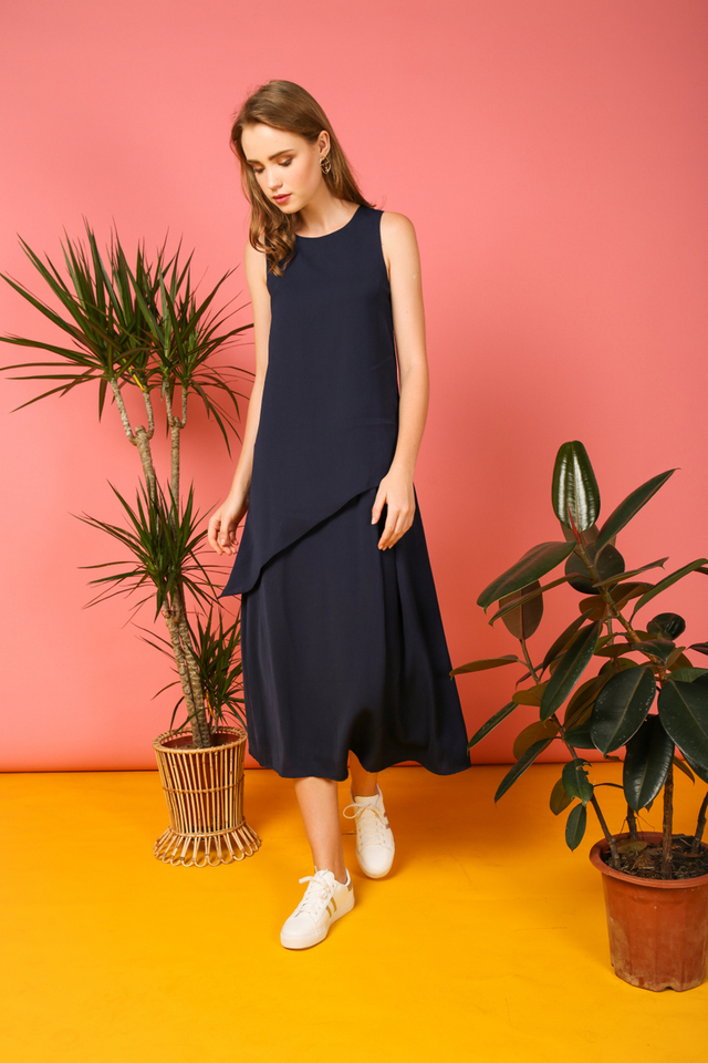 Gracia Asymmetrical Tiered Maxi Dress in Navy