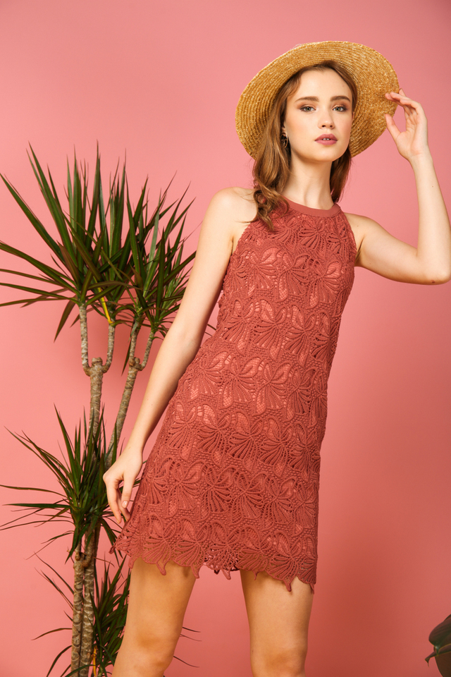 Arwen Crochet Halter Dress in Terracotta