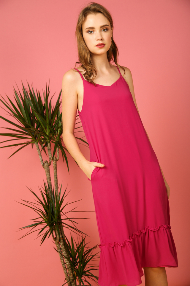 Holly Basic Dropwaist Midi Dress in Fuschia