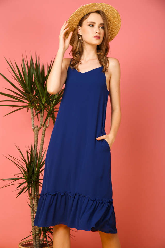 Holly Basic Dropwaist Midi Dress in Cobalt Blue