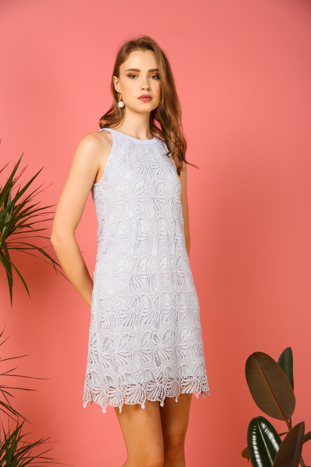 Arwen Crochet Halter Dress in Light Blue