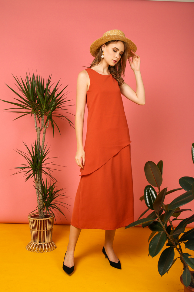 Gracia Asymmetrical Tiered Maxi Dress in Burnt Orange