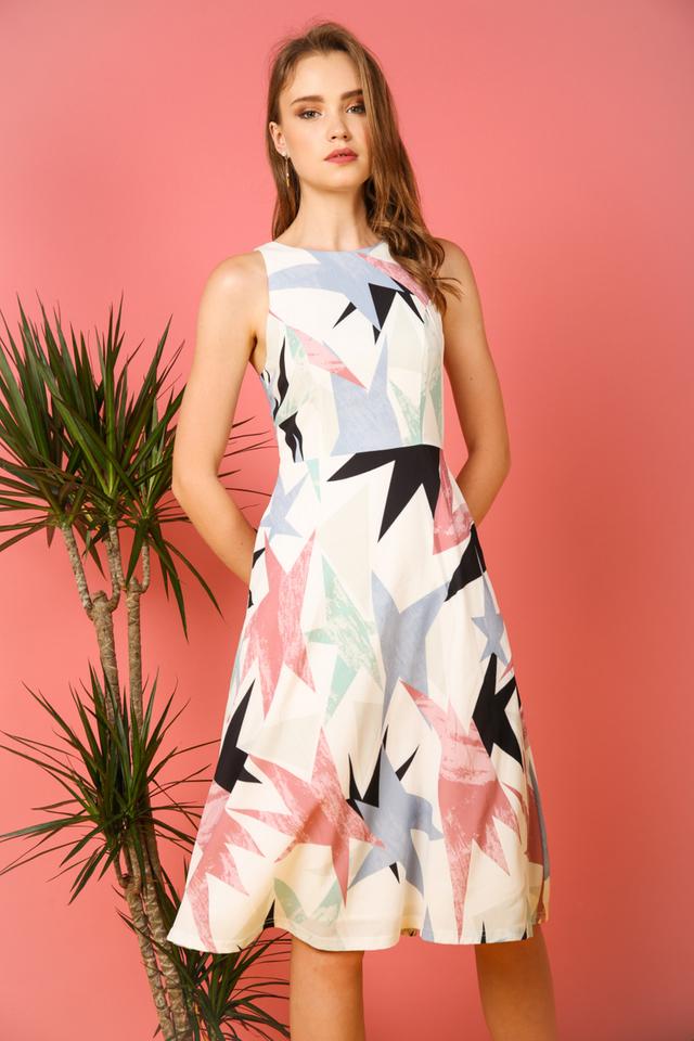 Sophelia Geometric Midi Dress in Light Blue