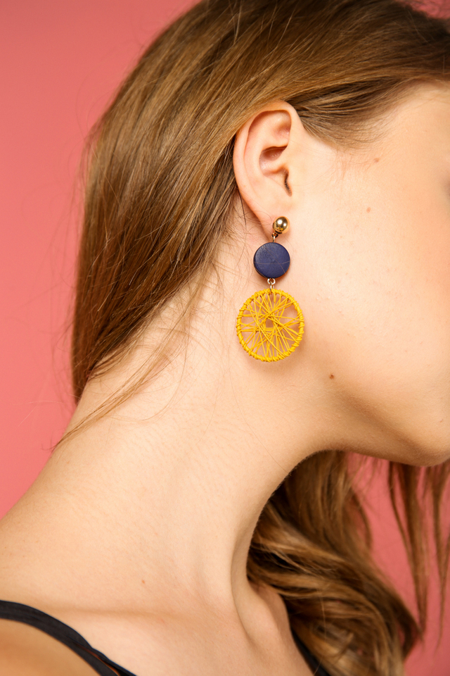 Theros Spun Earrings in Mustard